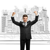Lamp-head businessman with hands up — Stock Photo