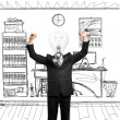 Lamp-head businessman with hands up — Foto Stock