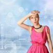 Surprised girl in pink — Stock Photo #6009949