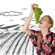 Woman with grapes — Stock Photo #6009954