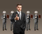 Lamp hoofd business met laptops — Stockfoto
