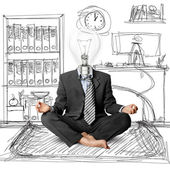 Lamp-head businessman in lotus pose — Stock Photo