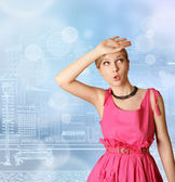 Verrast meisje in roze — Stockfoto
