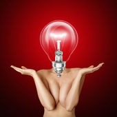 Lamp head beautiful naked woman — Stock Photo