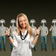 Woman and lamp head businesspeople with laptop — Stock Photo #6184914