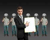 Lamp hoofd zakenmensen toont goed gedaan — Stockfoto