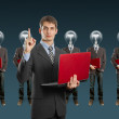 Lamp head businesspeople with laptop — Stock Photo #6320948