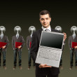 Lamp head businesspeople with laptop — Stock Photo #6320980