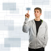 Man pushs the button — Stock Photo