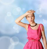 Surprised girl in pink — Стоковое фото