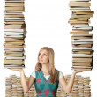 Woman with many books in her hands — Foto de Stock