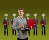 Lamp hoofd ondernemers met laptop — Stockfoto