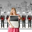 Woman and lamp head businesspeople with laptop — Stock Photo #6459476