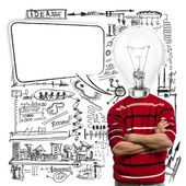 Uomo in rosso e lampada-testa con nuvoletta — Foto Stock