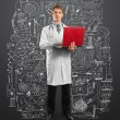Doctor male in suit with laptop in his hands — Stock Photo