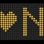 Yellow button board words i love NY — Stock Vector