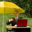 Businessman with umbrella — Stock Photo #6740865