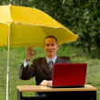Businessman with umbrella — Stock Photo #6740886