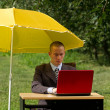 Businessman with umbrella — Stock Photo #6740898
