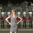 Woman and lamp head businesspeople with laptop — Stock Photo #6741053