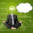 Foto Stock: Lamp-head businessmin lotus pose with speech bubble
