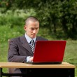 Man with laptop working outdoors — Stockfoto