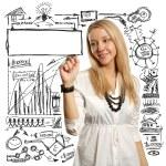 Businesswoman writing something — Stock Photo