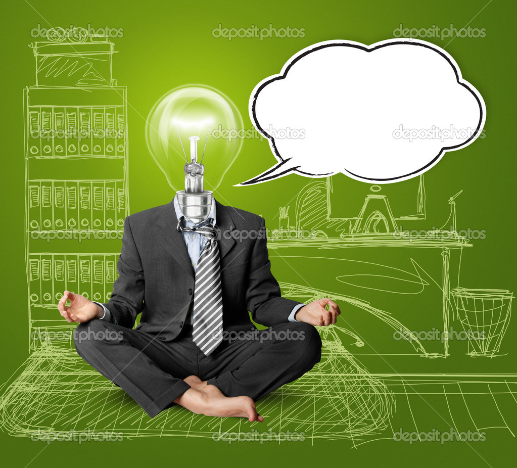 Lamp-head businessman in lotus pose with speech bubble, meditating at the office — Zdjęcie stockowe #6741088