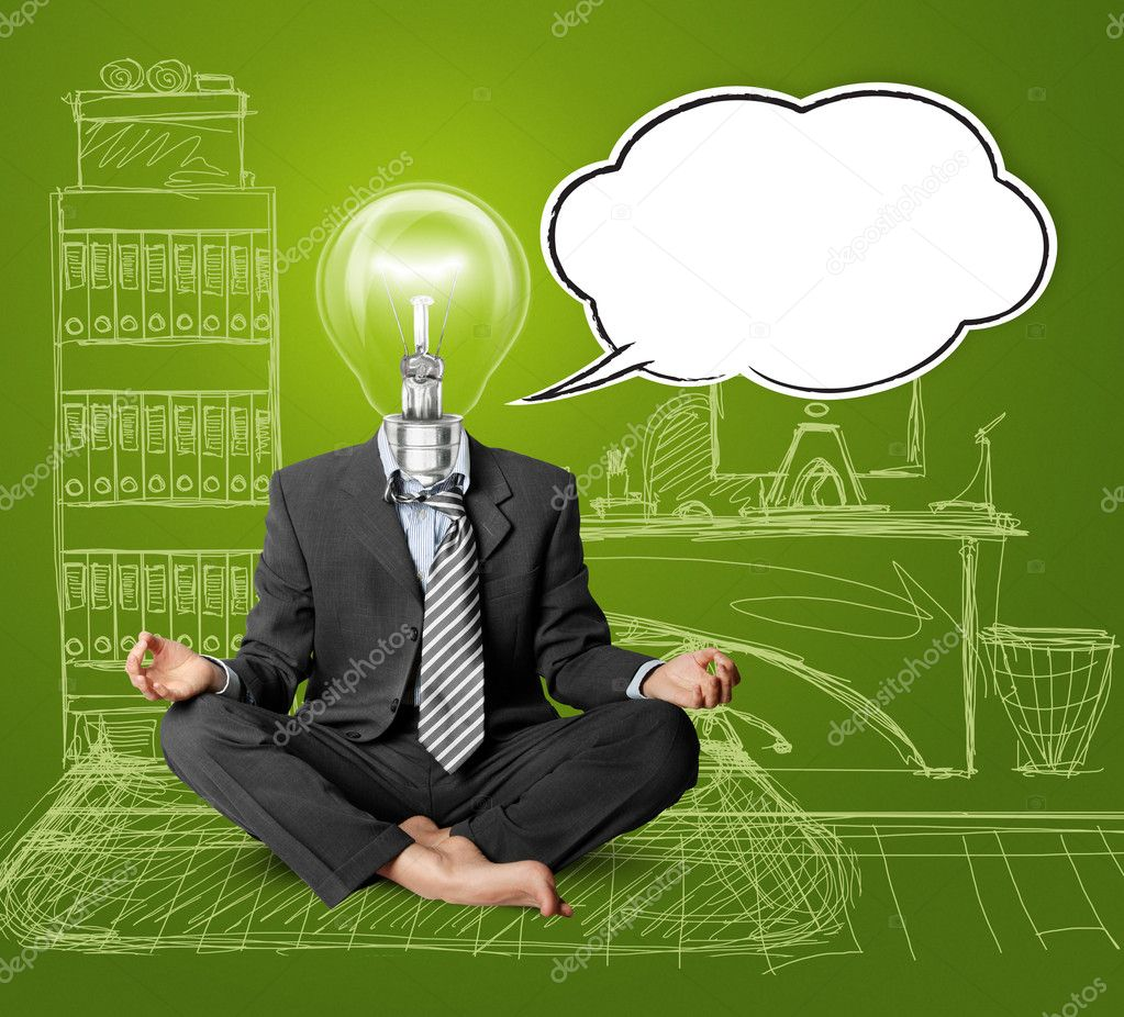 Lamp-head businessman in lotus pose with speech bubble, meditating at the office  Stock Photo #6741088