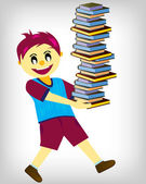 Boy Carrying Books — Stock Vector