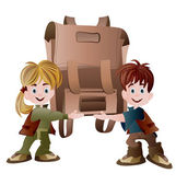 Girl and boy holding school bag — Stock Vector