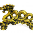 Golden dragon on white background - Stock Photo