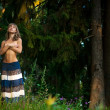 Topless girl in the woods — Stock Photo