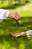 Hands of two , giving and taking keys, isolated over nature background — Stock Photo