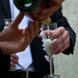 Champagne in the hands of the newlyweds — Stock Photo