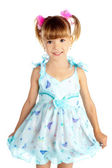 Little girl in blue dress — Stock Photo