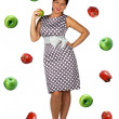 Royalty-Free Stock Photo: Retro girl on apple background