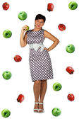 Retro girl on apple background — Foto de Stock