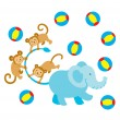 Elephant Monkey Play — Stock Vector