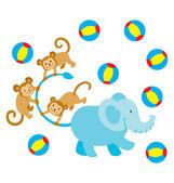 Elephant Monkey Play — Stock Vector