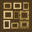 Grungy antique wallpaper background with frame — Stock Photo
