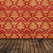 Retro background vintage room floral wallpaper and wooden parquet — Stock Photo