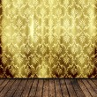Retro background vintage room floral wallpaper and wooden parquet — 图库照片