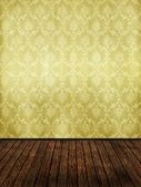 Vintage room with golden damask wallpaper — Stock Photo