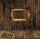 Antique gilded frame over wooden wall — Stok fotoğraf