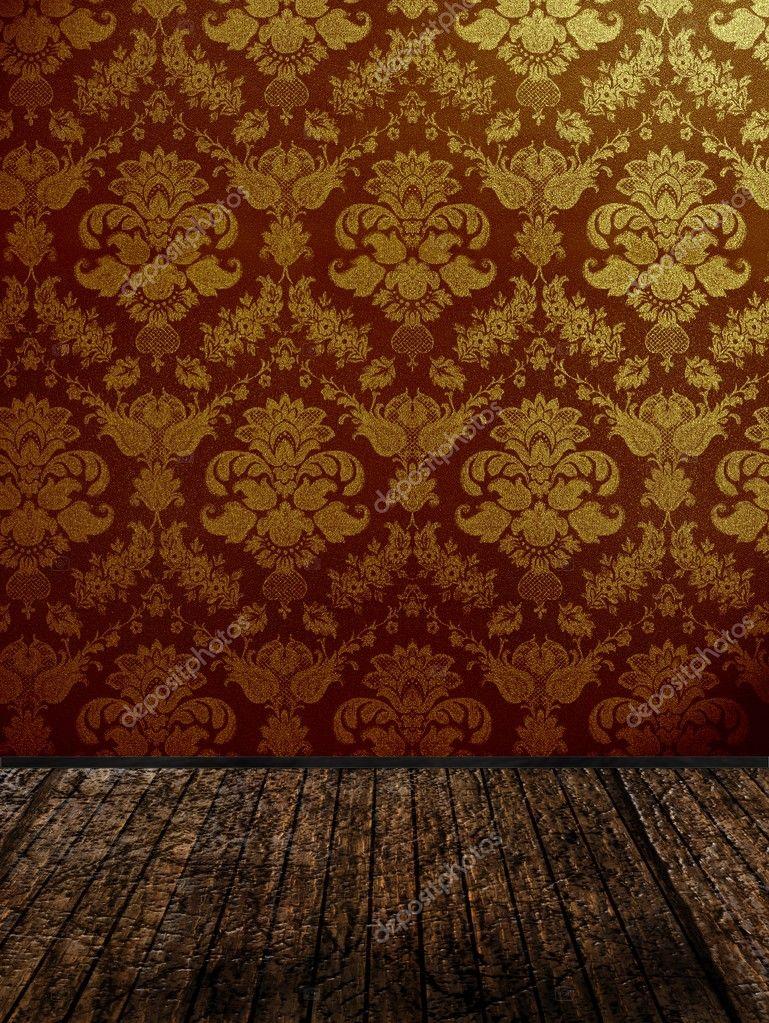 Quarto Com Papel De Parede Vintage ~ Quarto vintage com papel de parede adamascado dourado ? Imagem de