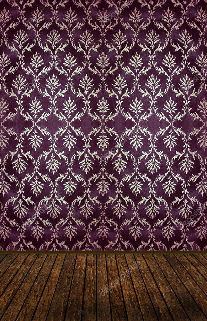 Quarto Com Papel De Parede Vintage ~ Quarto vintage com papel de parede adamascado dourado ? Foto Stock