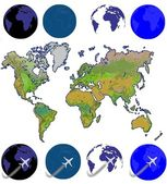 An unfolded map of the world and flying airplane — Stock Photo