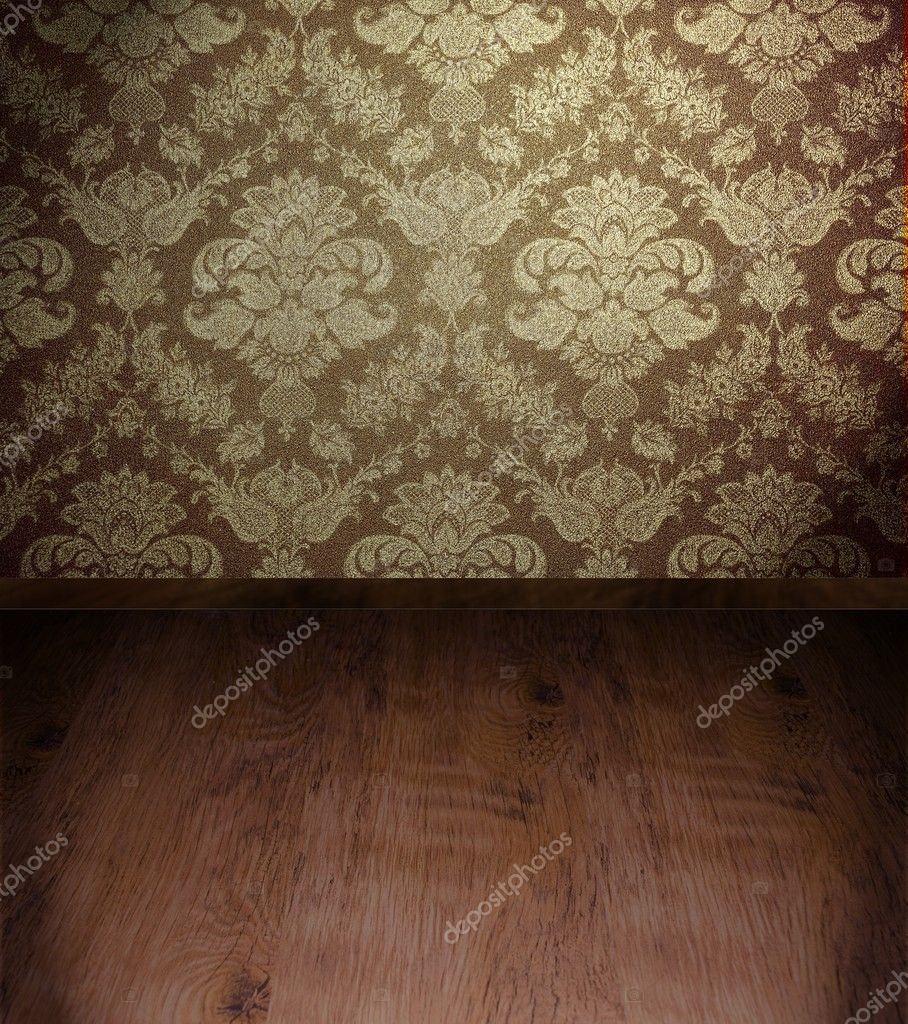 Grunge room interior with wooden floor — Stockfoto #6591214