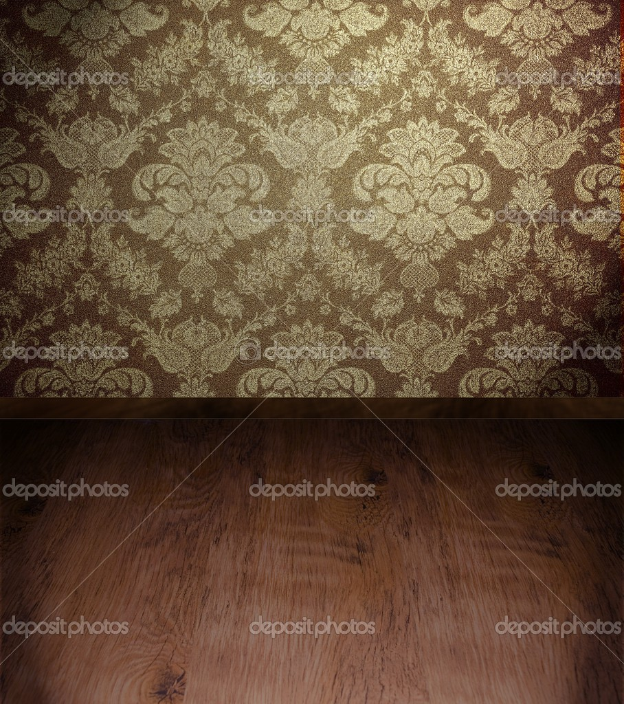 Grunge room interior with wooden floor   #6591214